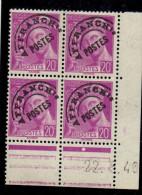 P0035    Préoblitéré 79 - 20c Mercure - Coin Daté 22/5/40 - Avec Charnière *
