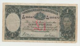 """Australia 1 Pound 1938 """"F"""" Banknote Pick 26a 26 A - Pre-decimal Government Issues 1913-1965"""