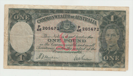 "Australia 1 Pound 1938 ""F"" Banknote Pick 26a 26 A - Pre-decimaal Stelsel Overheidsuitgave 1913-1965"