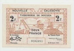 New Caledonia 2 Francs 1943 UNC NEUF Pick 56b 56 B - Nouméa (Nuova Caledonia 1873-1985)