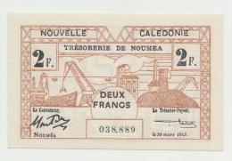 New Caledonia 2 Francs 1943 UNC NEUF Pick 56b 56 B - Nouméa (New Caledonia 1873-1985)