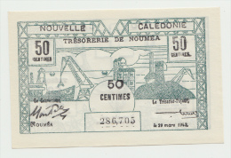 New Caledonia 50 Centimes 1943 UNC NEUF Pick 54 - Nouméa (New Caledonia 1873-1985)