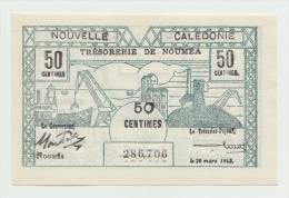 New Caledonia 50 Centimes 1943 UNC NEUF Pick 55 - Nouméa (New Caledonia 1873-1985)