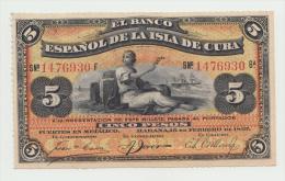 Cuba 5 Pesos 1897 UNC Pick 48c - Cuba