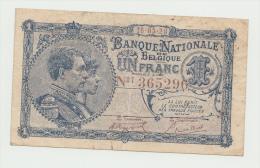 Belgium BELGIQUE 1 Franc 1920 VF++ RARE Banknote Pick 92 - [ 2] 1831-... : Belgian Kingdom