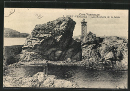 CPA Port-Vendres, Les Rochers De La Jetée, Un Homme Sur Des Rochers - Port Vendres