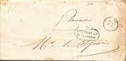 1126# LETTRE POSTE R. INTENDANT DE CHAMBERY Obl CHAMBERY 1857 HAUTE SAVOIE Pour PLANAISE MONTMELIAN - Postmark Collection (Covers)