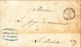 1127# LETTRE POSTE R. INTENDANT DE CHAMBERY Obl CHAMBERY 1855 HAUTE SAVOIE Pour LA ROCHETTE - 1849-1876: Classic Period