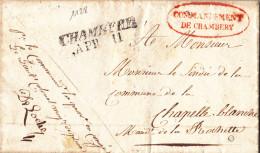 1128# LETTRE COMMANDEMENT DE CHAMBERY Obl CHAMBERY 1839 HAUTE SAVOIE Pour LA CHAPELLE BLANCHE LA ROCHETTE - Postmark Collection (Covers)