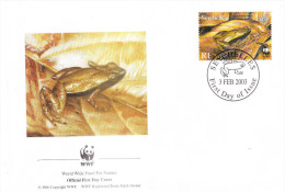 FDC SEYCHELLES - 03.02.2003 -WWFWorld Wide Fund Nature - Grenouille 1Rs - Seychelles (1976-...)