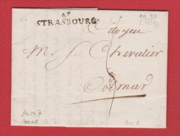 Lettre  //  De Strasbourg  //  Pour Colmar  //  24 Nivose An 7 - Marcophilie (Lettres)