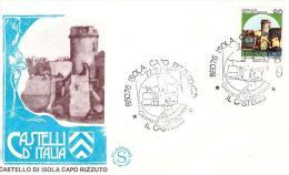 Fdc Filagrano: CASTELLO ISOLA CAPO RIZZUTO  L.90 (1980); No Viaggiata; AS_Isola Capo Rizzuto - F.D.C.