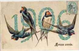 Année Date Millesime - 1906 - Hirondelles Dans Chiffres Myosotis (droite), Gaufrée Embossed - New Year