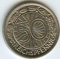 Allemagne Germany 50 Reichspfennig 1929 A J 324 KM 49 - 50 Rentenpfennig & 50 Reichspfennig