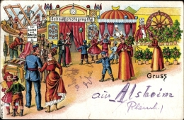 Lithographie Alsheim Im Wonnegau Kreis Alzey Worms, Jahrmarkt, Jakob Aus Amerika - Allemagne