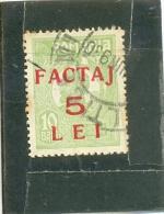 1928 ROUMANIE Y & T N° 590 ( O ) Surchargé FACTAJ  5 LEI - Parcel Post