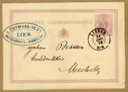 Carte Correspondance Entier Postal 1873 Lierre à Mechelen - Postwaardestukken