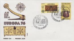 Enveloppe  1er  Jour   ANDORRE     Paire    EUROPA     1976 - Europa-CEPT