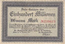 Düren - Einhundert Millionen  100 000 000 Mark 1923 - [11] Emissioni Locali