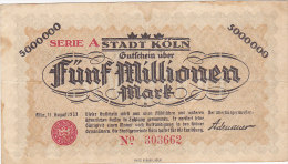 Köln - Fünf Millionen  5 000 000 Mark 1923 - [11] Emissions Locales