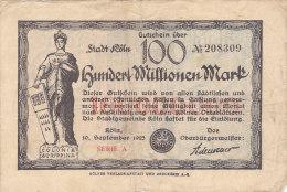 Köln - Hundert Millionen  100 000 000 Mark 1923 - [11] Emissions Locales