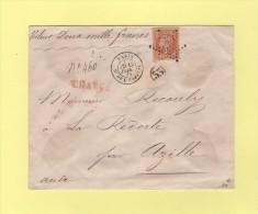 Etoile 33 - Paris - Bt De L'Hopital - 13 Janv 1868 - Charge Valeur Declaree - Postmark Collection (Covers)