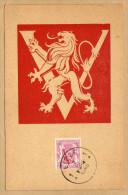 Carte 672 Victoire V Rouge Petit Sceau De La L'Etat - Bélgica