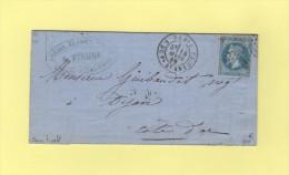 Etoile 23 - Paris - R. Du Fg St Antoine (sans Tirets) - 14 Mars 1869 - Marcophilie (Lettres)
