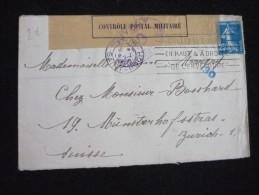 Controle Postal Militaire Lettre De Paris Pour Zurich 14/01/1918 - Poststempel (Briefe)
