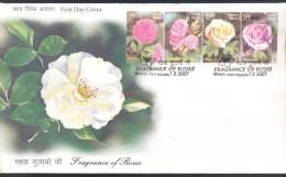 India 2007 FDC Cover: Flora Rose Rosa Rosen Rosas: Fragrance Of Roses Kolkata Cancelllation - Roses