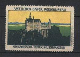 Vignette Publicitaire Château Neuschwanstein, Amtliches Bayer. Reisebüro - Erinnophilie