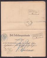 DR Schwarza In Schwarza Rudolstadt Post-Zustellungsurkunde 1884 Nach Rudolstadt Mit Nachgebühr Portopflichtige Ds. - Deutschland