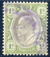 Transvaal 1902. 1sh Black And Sage-green (wmk.CA). SACC 257, SG 251. - Südafrika (...-1961)