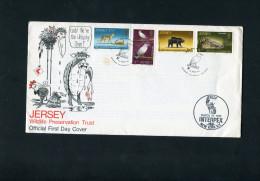 JERSEY 1972 FDC With LIZARD,BIRD,BEAR,CHEETAH. - Autres