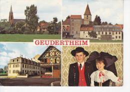 GEUDERTHEIM (67- Bas Rhin) Eglise Catholique Et Protestante, Moulin, Couple D'Alsaciens, Mercerie Presse J. Keller, Ed. - Autres Communes