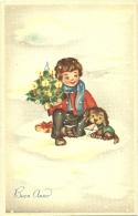 BUON ANNO  Bimbo  Con Abete Di Natale  Cane Con Busta Ed Pmce 368/6 - Anno Nuovo