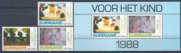 1988 SURINAM 1141-43+ BF 54** Dessins D'enfants, Drogue - Suriname