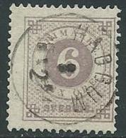 1872-79 SVEZIA USATO CIFRA E TRE CORONE 6 ORE D. 13 - ZX0.2 - Oblitérés