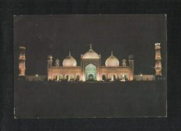 Pakistan Picture Postcard Badshahi Mosque Lahore Night View Card Used - Pakistan