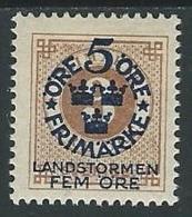 1910 SVEZIA PRO MILIZIA TERRITORIALE 5+5 SU 3 ORE MH * - ZX0.7 - Neufs