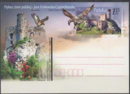POLAND, 2007, POSTAL STATIONERY, MINT, BIRDS,BIRDS. OF PREY,  FLORA, FLOWERS, CASTLES,  PREPAID POSTCARD - Birds