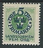 1910 SVEZIA PRO MILIZIA TERRITORIALE 5+5 SU 5 ORE MH * - ZX0.7 - Neufs