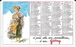 CALENDARIETTO PLASTIFICATO PUBBLICITARIO  PANETTONE GALUP -ANNO 1980 - Calendari
