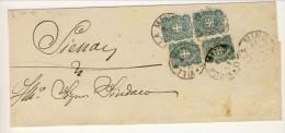 Piego Da Villa Minozza A Siena 21.1.1898 Affrancata Con 4 Esemplari (di Cui Una Coppia) Del N. 67 C. 5 Verde - 1878-00 Umberto I