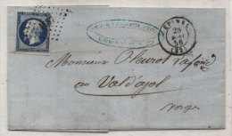 Lettre (LAC) Adressée En 1856 De EPINAL A VAL D' AJOL (Vosges) - PC 1187 Sur  Yvert  14 A (Teinte) (82762) - Marcophilie (Lettres)