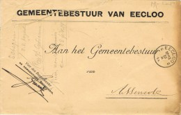 15913. Carta Franquicia Oficial EECLOO (Belgien) 1914. Municipio - Bélgica