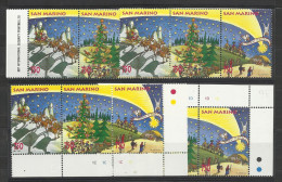 1995 San Marino Saint Marin NATALE  CHRISTMAS 4 Serie Di 3v. (Trittico) Triptych - Natale