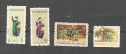 Vietnam Du Nord N°247,248,252,264 Cote 3.95 Euros - Vietnam