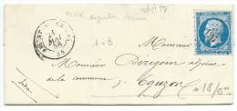 N° 14 BLEU NAPOLEON SUR LETTRE / ARGENTON SUR CREUSE POUR EGUZON / 21 MAI 1858 - 1849-1876: Klassieke Periode