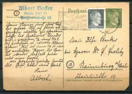 """German Empires 1944 Ganzsache P298 Mit Zusatzfrankatur Und Propaganda MWST """"Berlin SW 11-JUGEND Aufs MEER""""1 GS Used - Deutschland"""